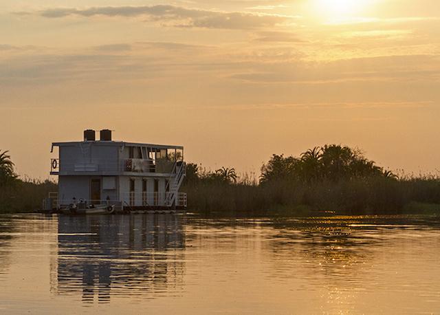 house boat on the okavanga delta in botswana