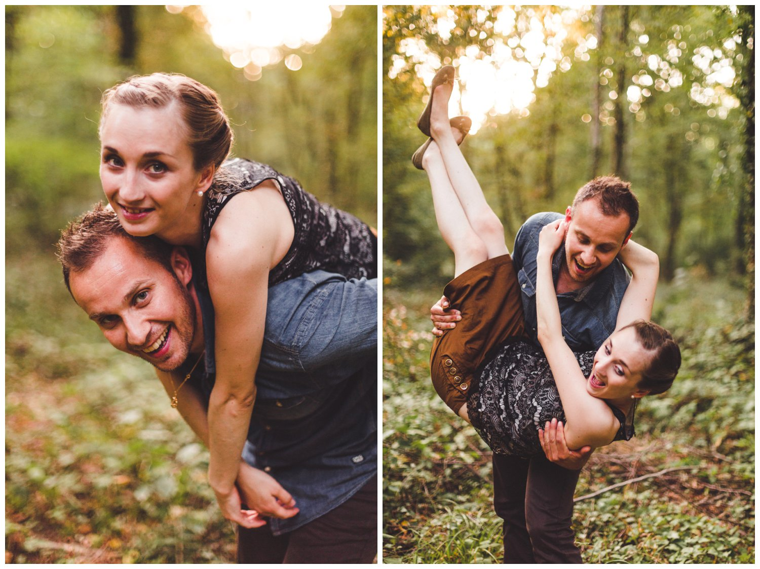 Séance photo couple engagement nature en foret de metz