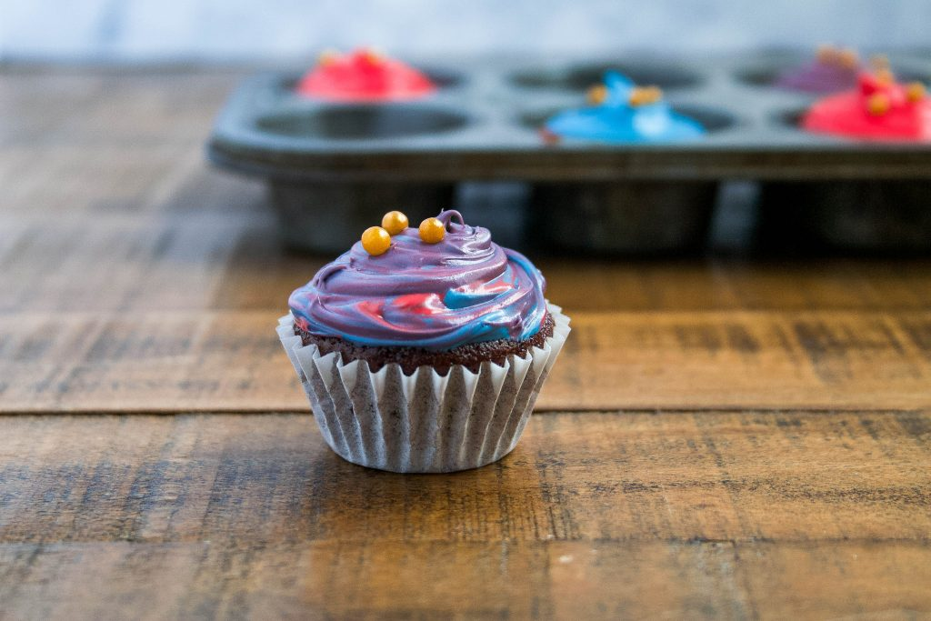 bite size cupcakes made from wacky cake! a super easy (and dairy free) recipe that was my childhood favorite! miniature wacky cake cupcakes | a flavor journal food blog