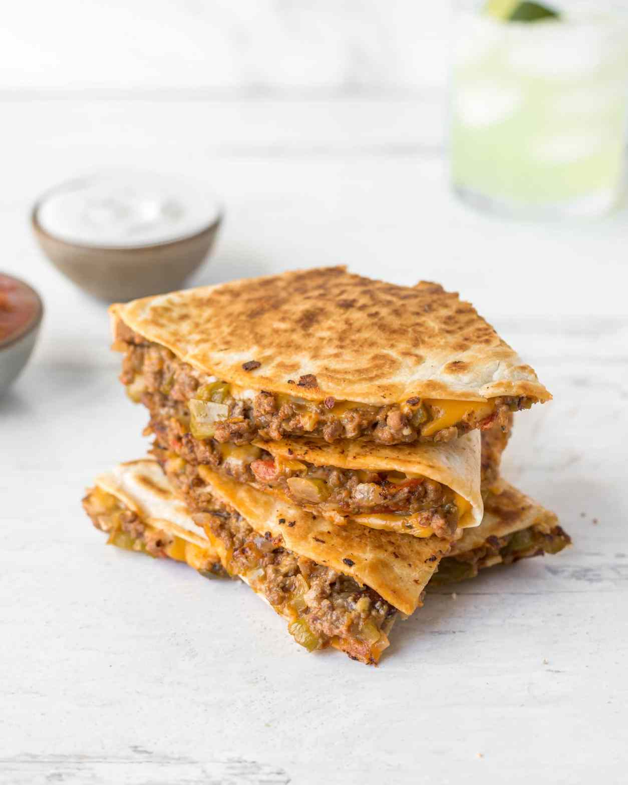 Cheesy Ground Beef Quesadillas for Two