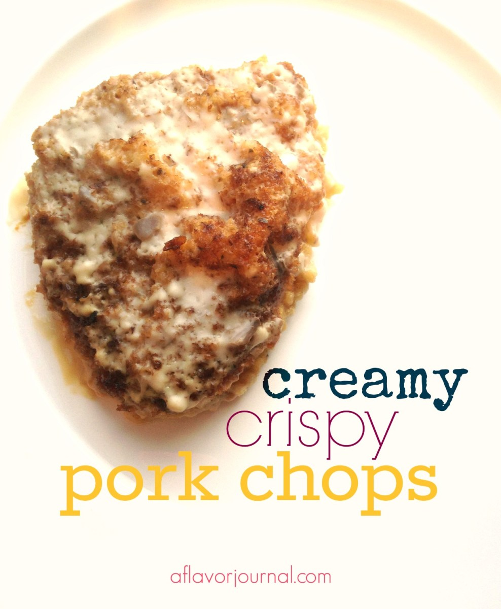date night :  creamy, crispy pork chops.