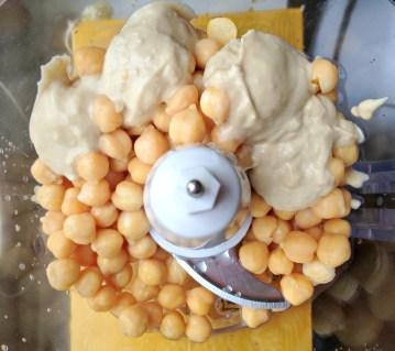 garbanzo beans, tahini, lemon juice, cumin, salt