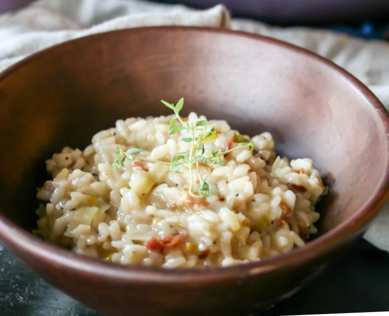 creamy pancetta leek risotto