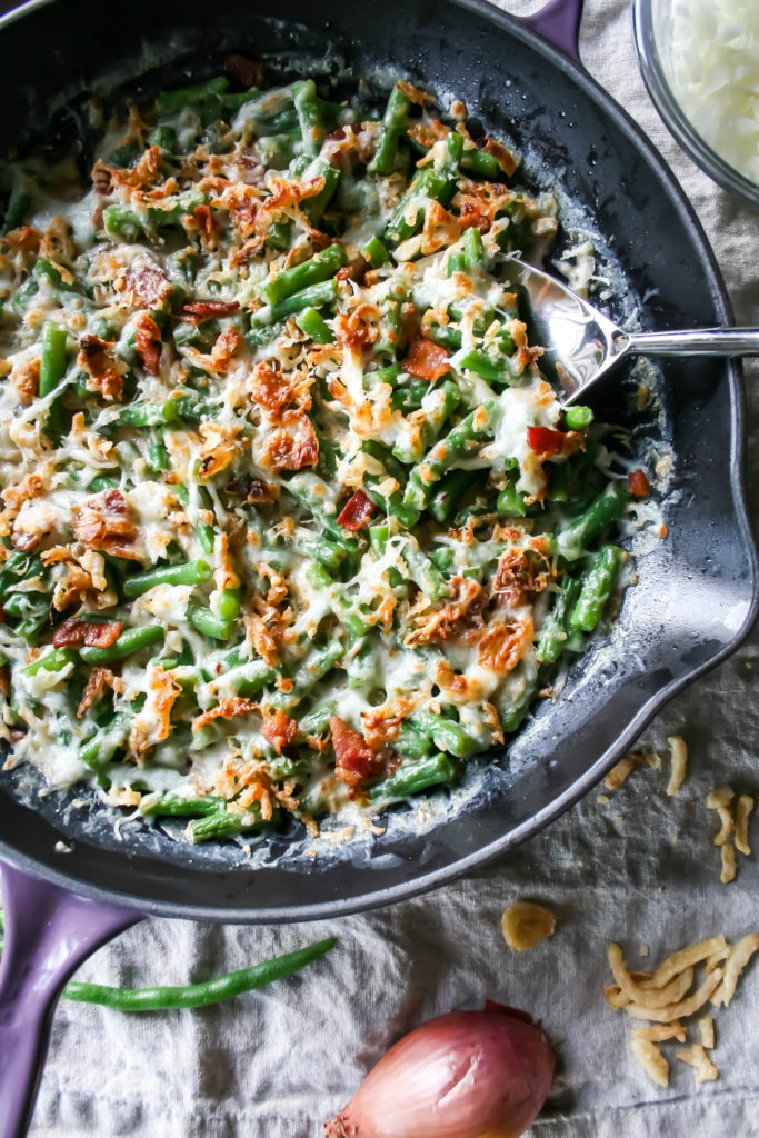 favorite green bean casserole | This is my favorite green bean casserole! It uses fresh green beans, bacon, shallot, garlic, and cream sauce. Topped with cheese and baked to perfection!