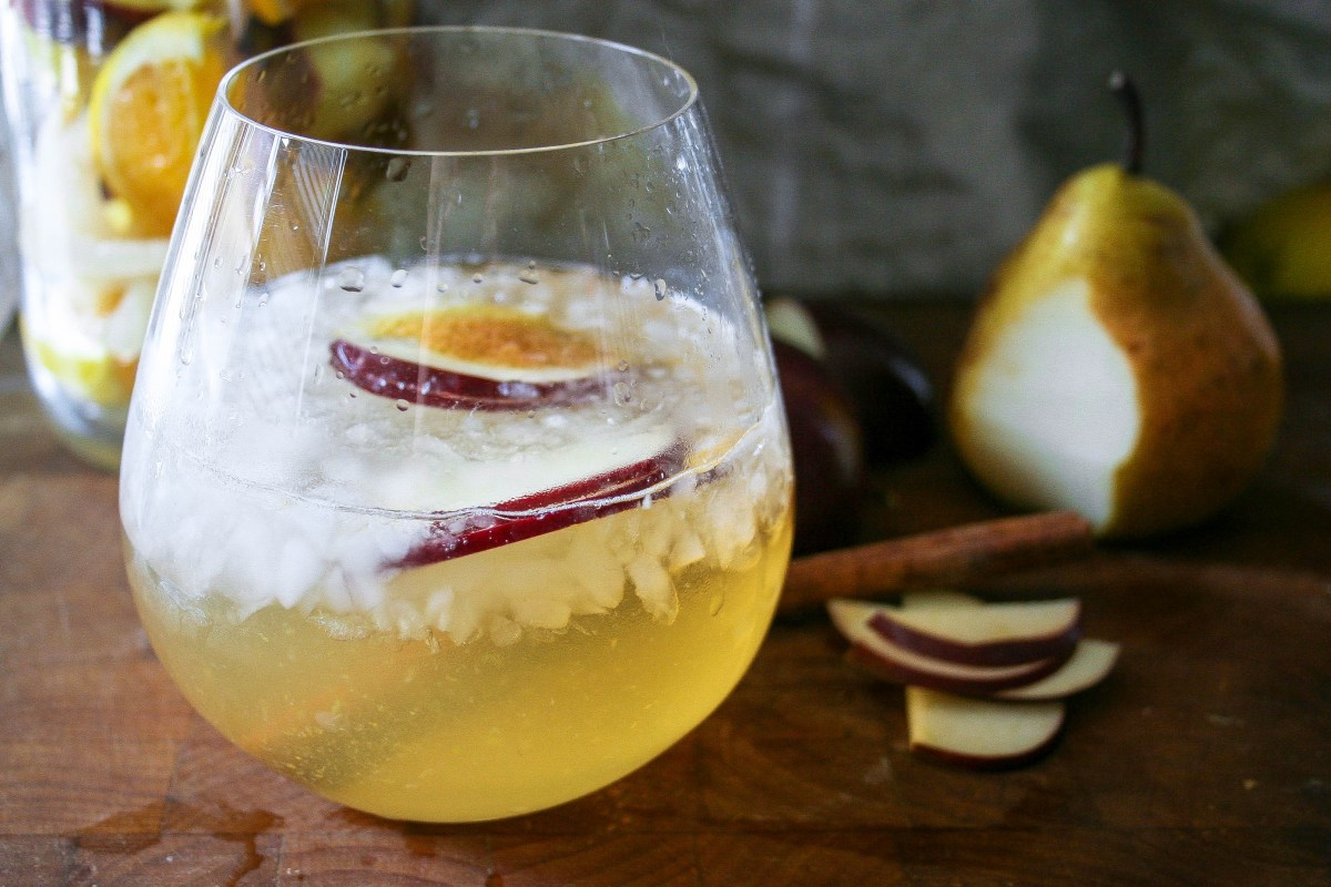 Apple pear cinnamon fall sangria a flavor journal pears apples cinnamon oranges and honey combine with white wine to create thecheapjerseys Image collections