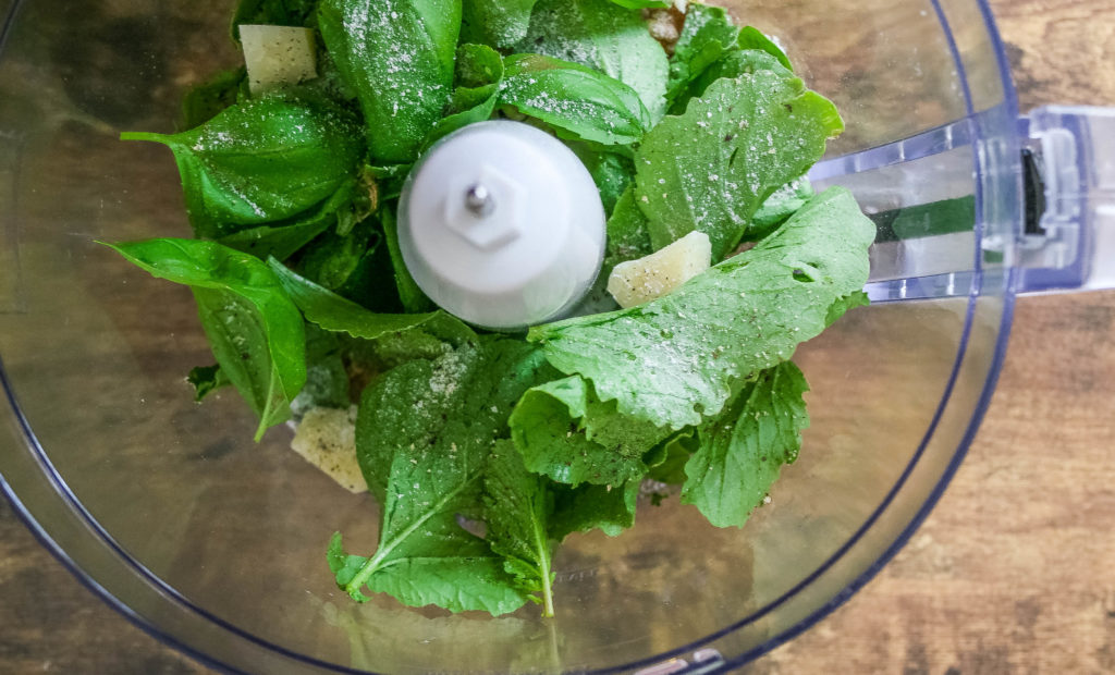 a unique twist on pesto that utilizes the edible tops of radishes. great with pizza, pasta, or other light + crunchy snacks. | small batch radish leaf + basil pesto | a flavor journal food blog