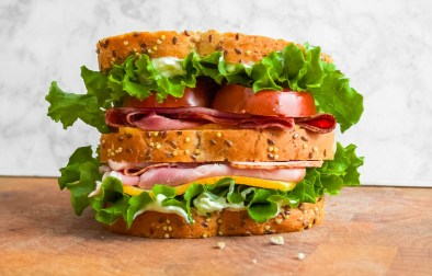 Delicious sliced meats, fresh veggies, and roasted garlic aioli make the best sandwich for a picnic or lunch at home!