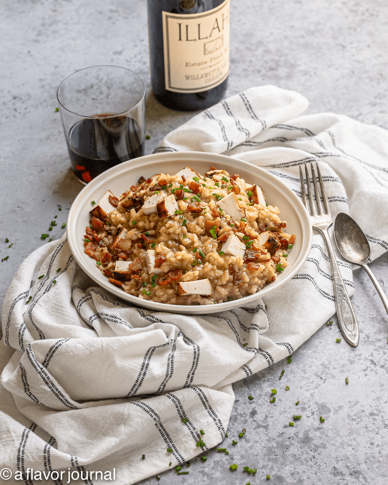 This chicken bacon risotto recipe for two people is decadent, cheesy, a little smoky, and absolutely delicious.