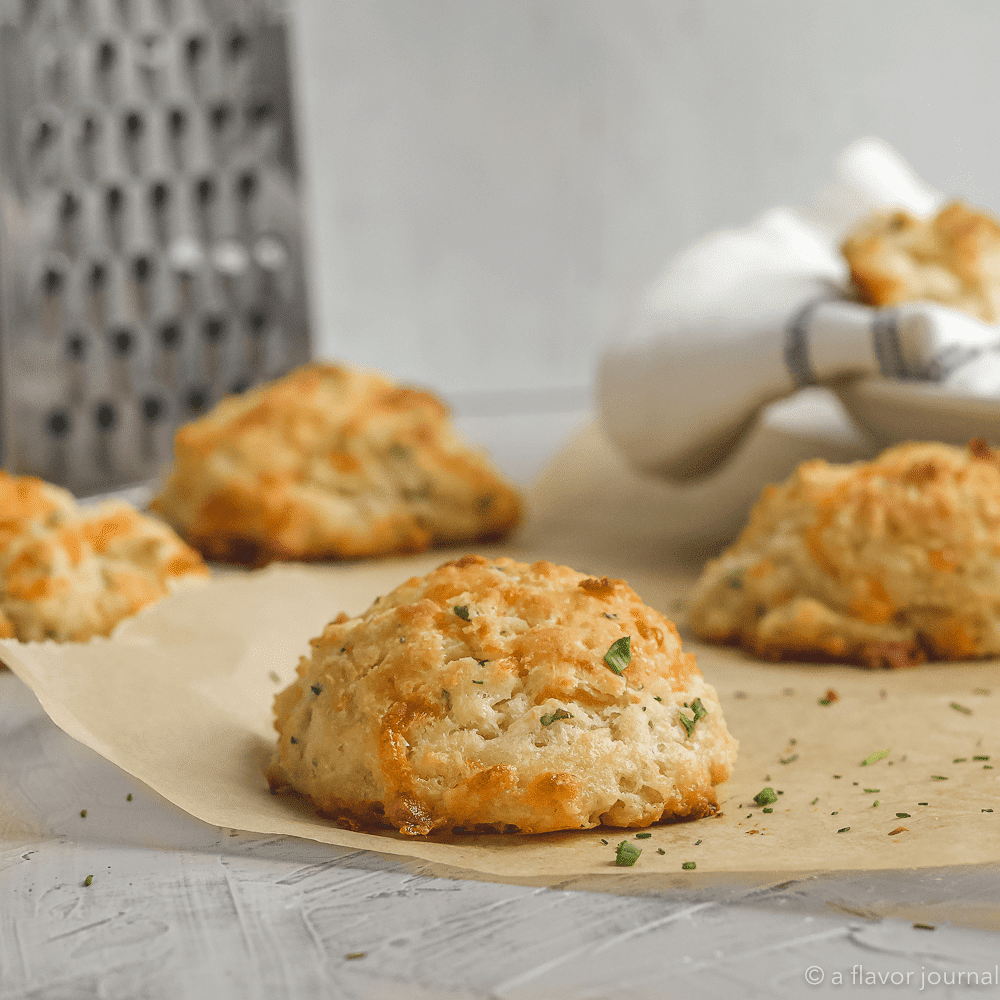 A fluffy cheddar chive drop biscuit