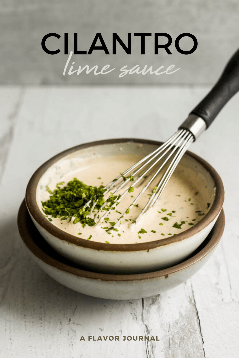 cilantro sauce with sour cream and lime