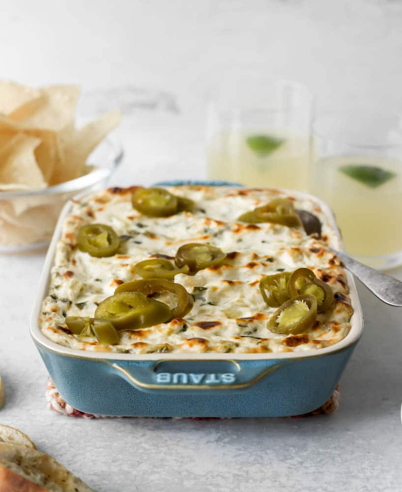 Roasted jalapeños and chopped artichoke hearts mixed with a creamy, cheesy blend for the best jalapeño artichoke dip!