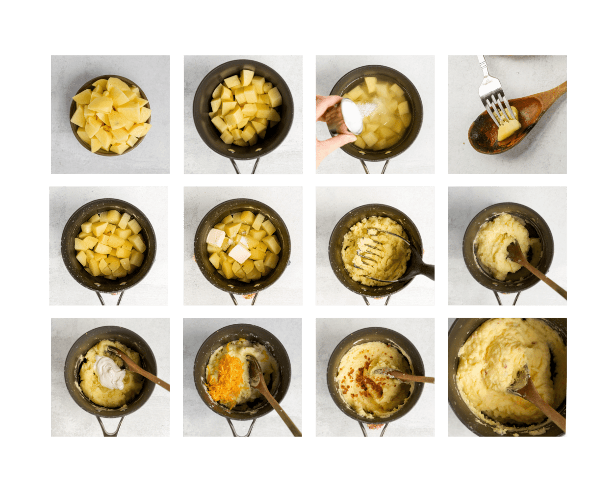 A grid of step-by-step photos to making loaded mashed potatoes.