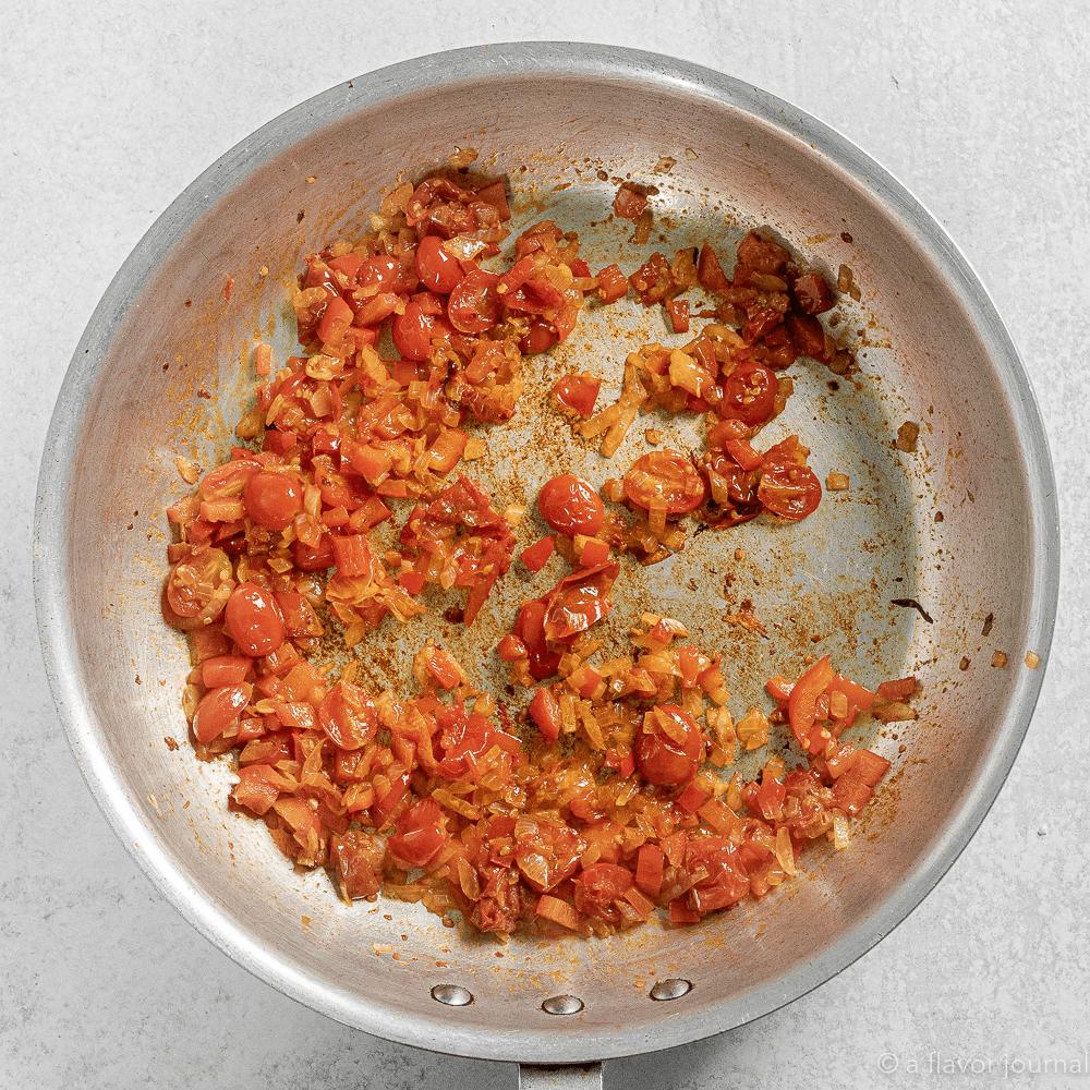 Process shot of making Chorizo Pasta