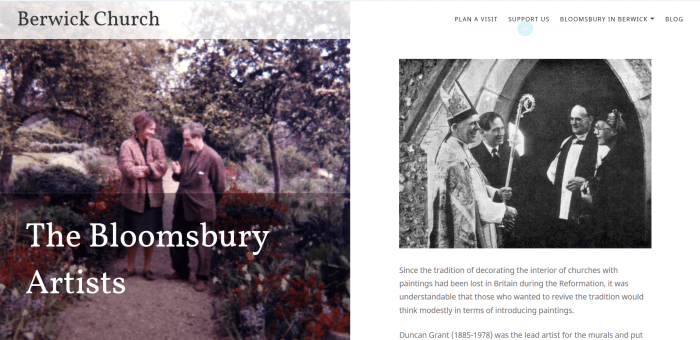 An example article page using bold visuals and archive material bloomsbury charleston house garden