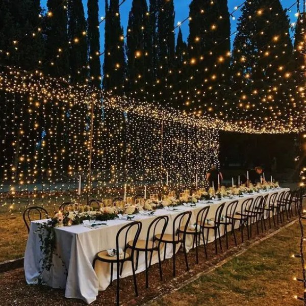 illuminazione matrimonio all'aperto