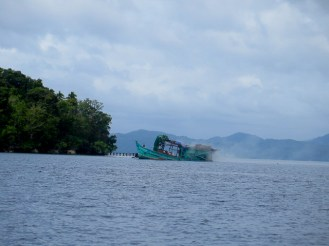 An illegal fishing boat sunk by the government in Raja Ampat, West Papua