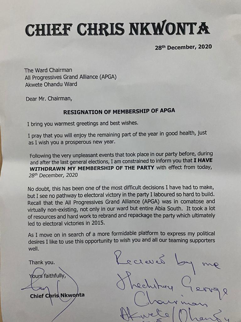 Chief Chris Nkwonta's Resignation Letter