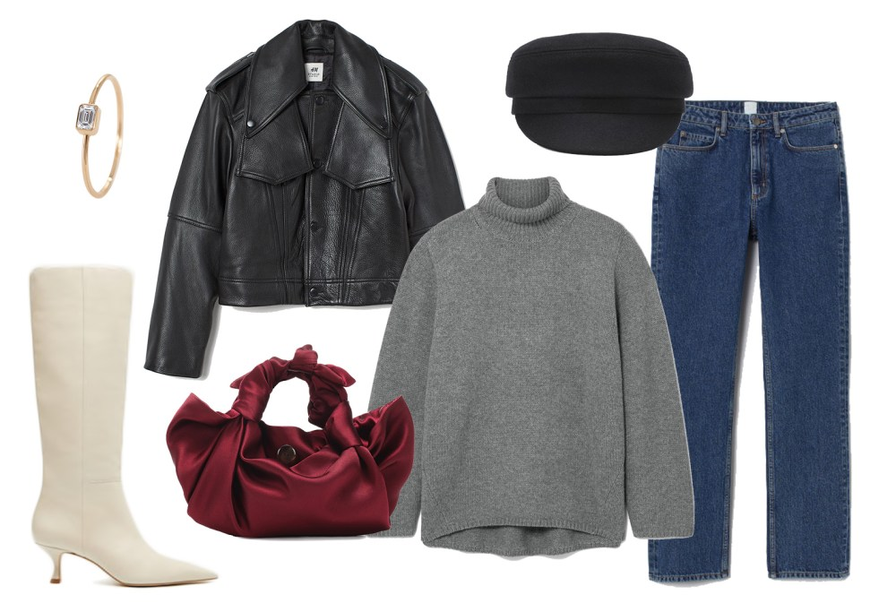 Leather jacket, Totême sweater, The Row bag fall look