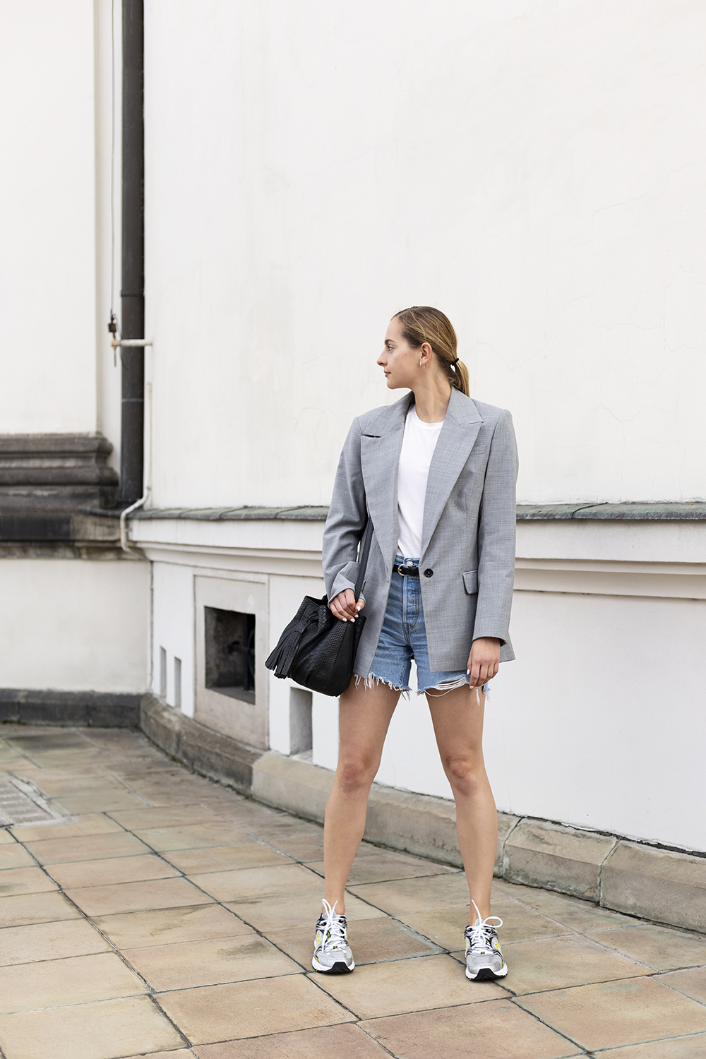 Blazer and sneakers. Athleisure outfit