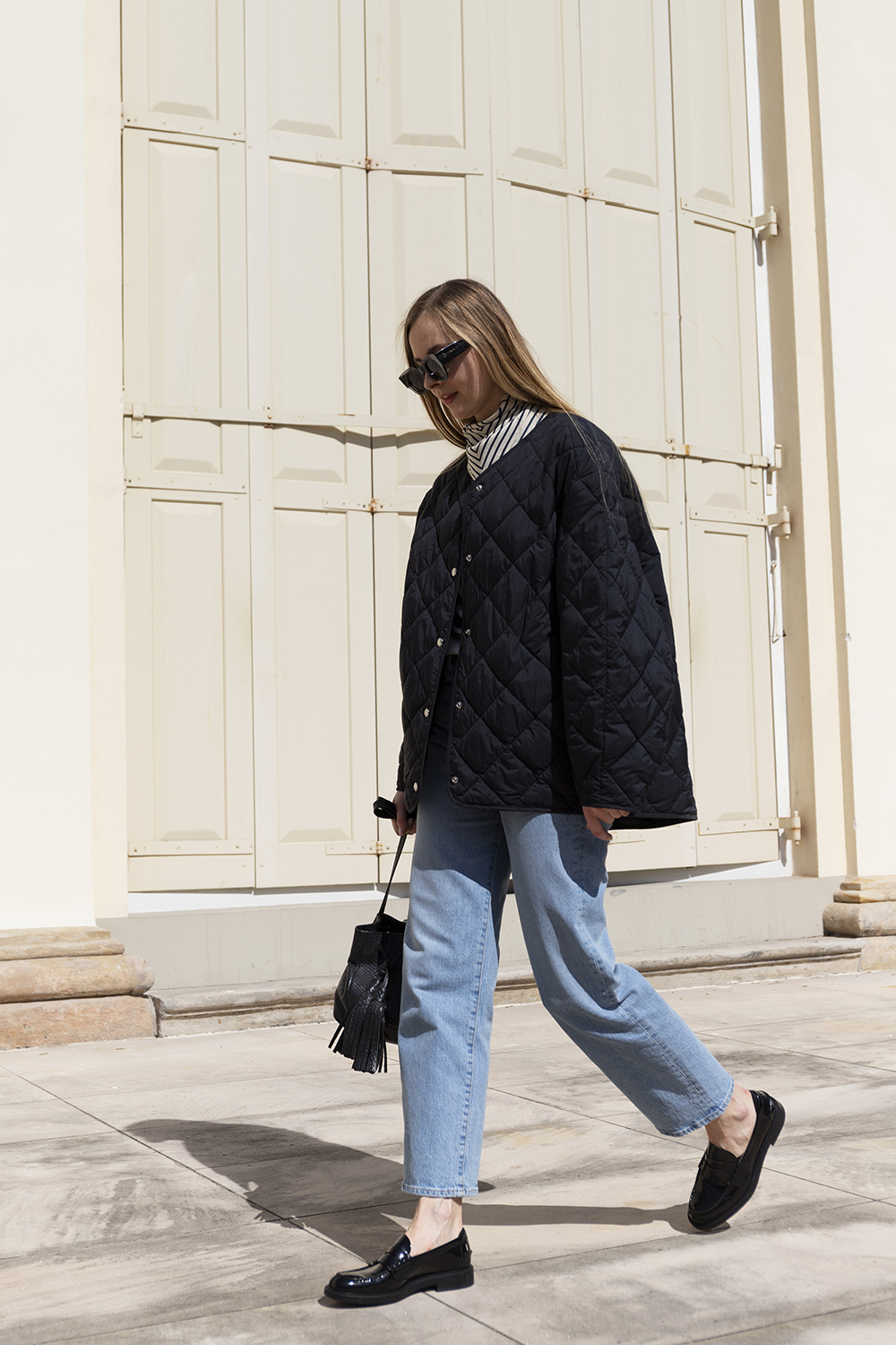Spring minimal street style with patent loafers