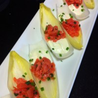Elegant Smoked Salmon and Creme Fraiche on Endive Spears