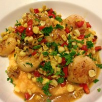 Sauteed Scallops and Confetti Vegetables over Carrot Parsnip Puree