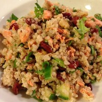 Healthy Quinoa Salad with Salmon, Cucumber, Cranberries, and Walnuts