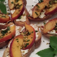 Peach Pistachio Ricotta Toasts
