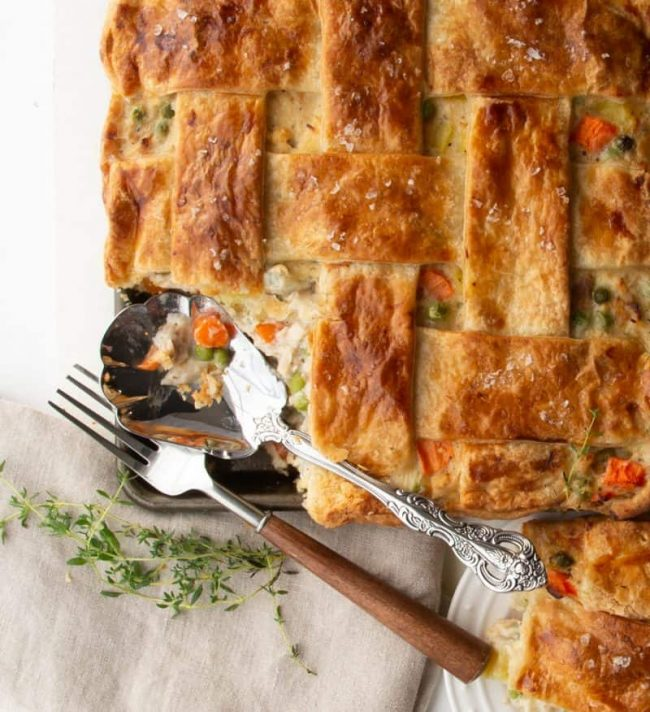 chicken pot pie with lattice pie crust