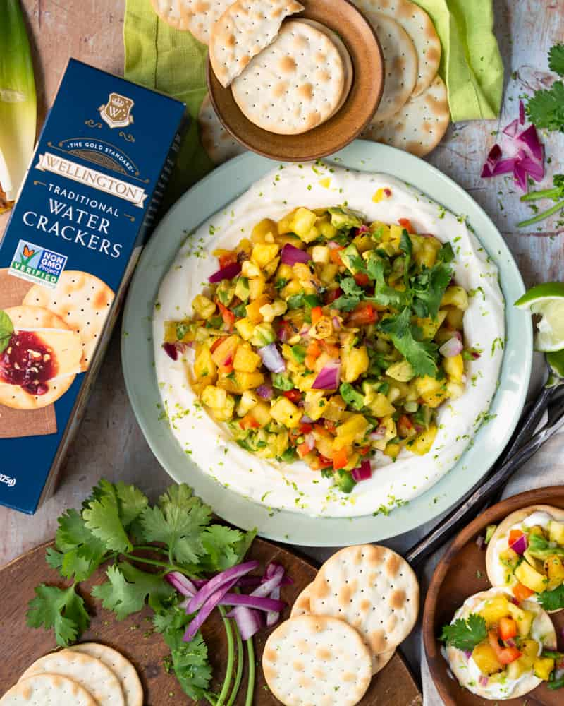 Grilled Pineapple Salsa with Zesty Lime Crema served with Wellington Crackers