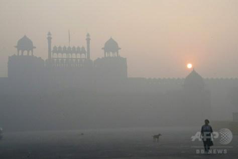 インドの首都ニューデリーで、スモッグに覆われたモスク(2016年11月3日撮影)。(c)AFP/DOMINIQUE FAGET