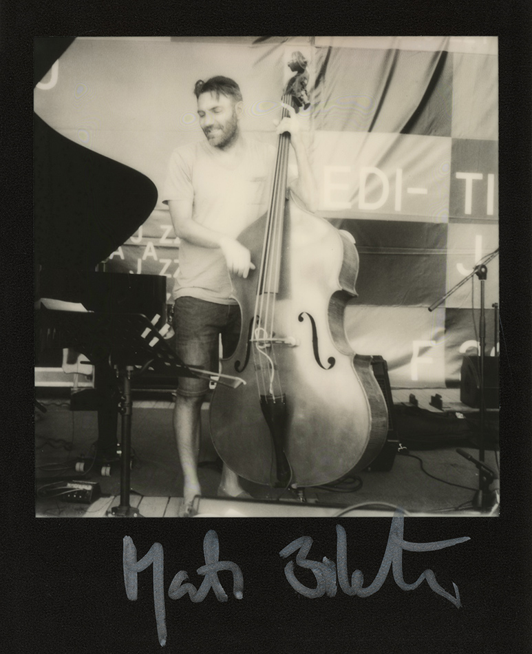 Mats Eilertsen during sound check with Bobo Stenson's trio at Gărâna Jazz, 2017