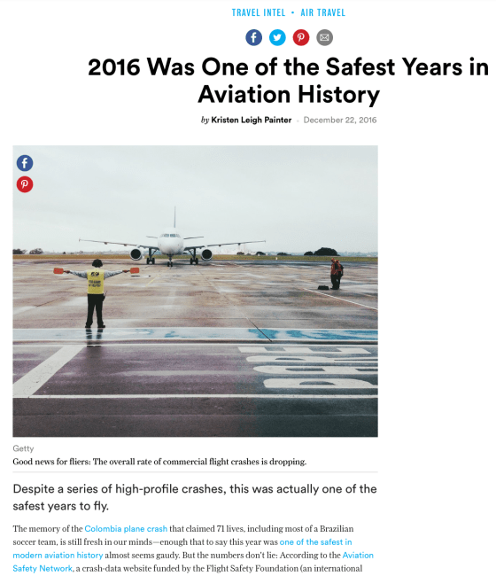 """""""2016 Was One of the Safest Years for Air Travel"""": Condé Nast"""