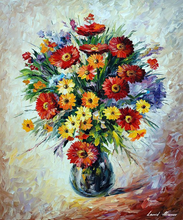 "Celebration Bouqet Palette Knife Oil Painting Canvas Leonid Afremov - Size 30""x36"""