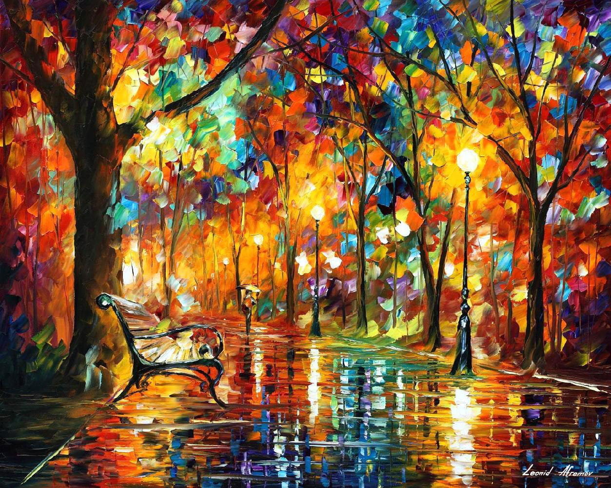 colorful night palette knife