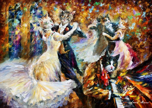 Danceball Of Cats Palette Knife Oil Painting Canvas