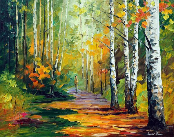 Forest Road Palette Knife Oil Painting Canvas