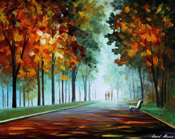 "Heroes Fog Palette Knife Oil Painting Canvas Leonid Afremov - Size 30""x24"""