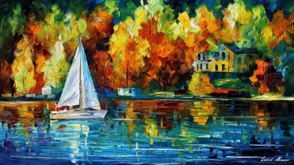 "House Of Lake Palette Knife Oil Painting Canvas Leonid Afremov - Size 36""x20"""