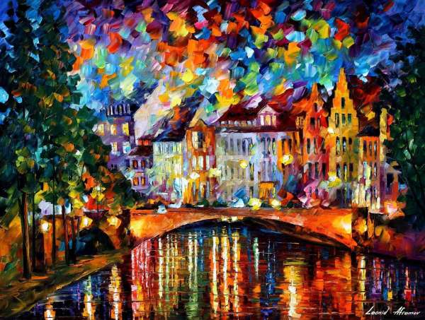 """Reflections Of Palette Knife Oil Painting Canvas Leonid Afremov - Size 40""""x30"""
