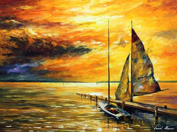 Sailing Palette Knife Oil Painting Canvas