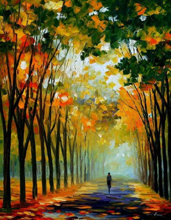 Autumn Mood Palette Knife Oil Painting Canvas