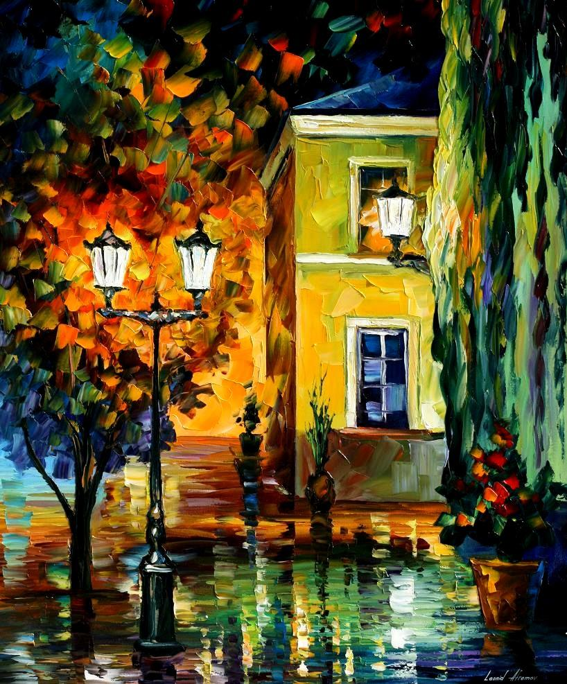 Fall Leaves Dancing Wallpaper Southern Night Palette Knife Oil Painting On Canvas By