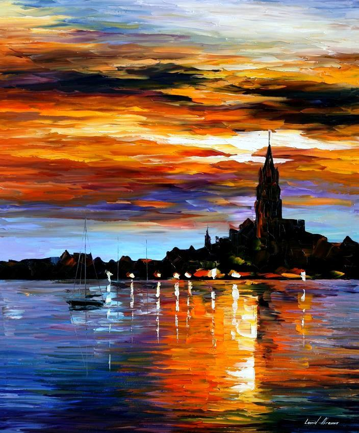 THE SKY OF SPAIN  PALETTE KNIFE Oil Painting On Canvas By