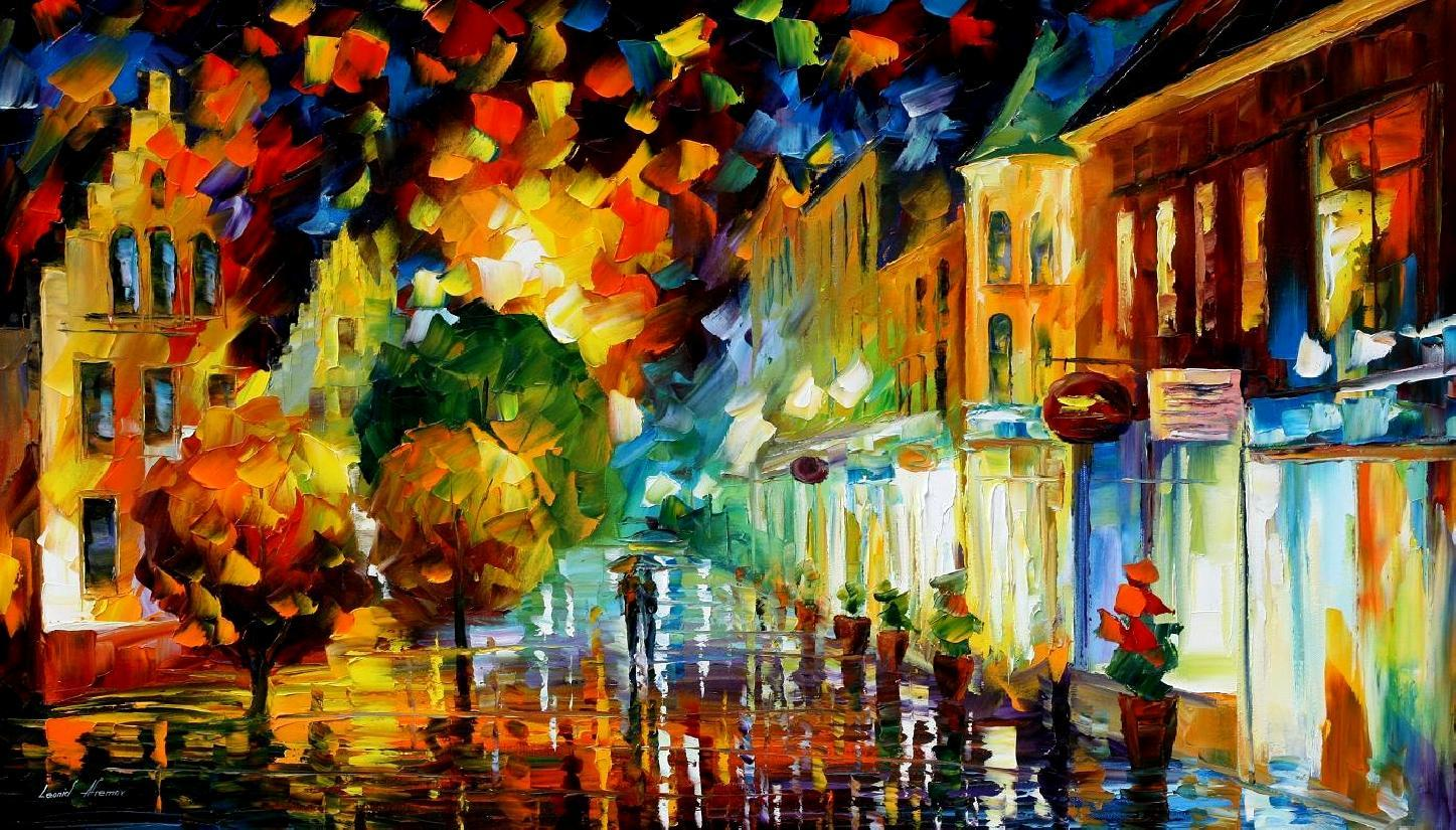 Free Computer Fall Wallpaper Night Attraction Palette Knife Oil Painting On Canvas By