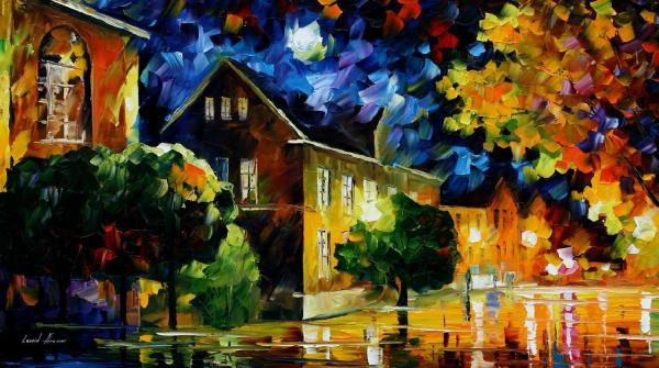 "Quiet Town Palette Knife Oil Painting Canvas Leonid Afremov - Size 36""wx20"" 90cm X 50cm"