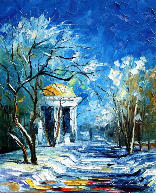 Winter Perspective- Palette Knife Oil Painting Canvas