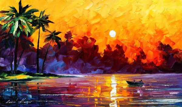 Punta Allen Tulum Mexico Palette Knife Oil Painting