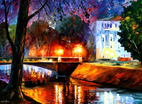"Memories Of Love Palette Knife Oil Painting Canvas Leonid Afremov - Size 72""x48"""