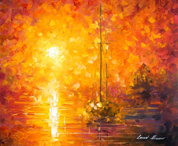 Orange Fog 3 - Recreation Oil Painting Canvas Leonid